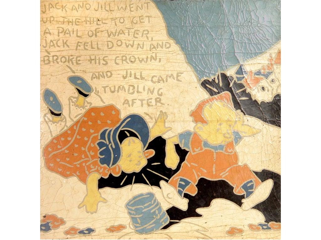 5 Rare Linoleum Nursery Rhyme Panels For Sale 1