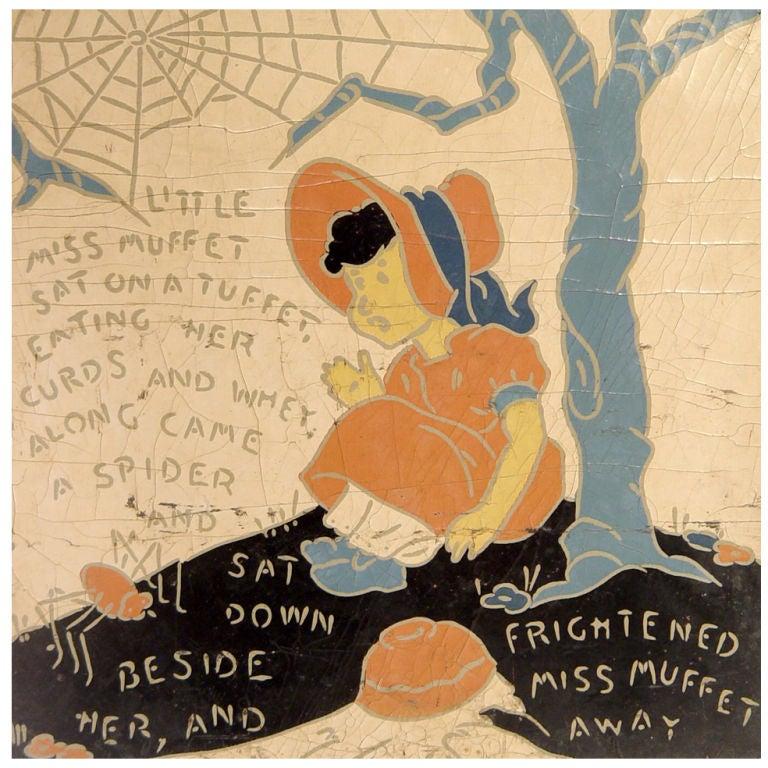 5 Rare Linoleum Nursery Rhyme Panels For Sale