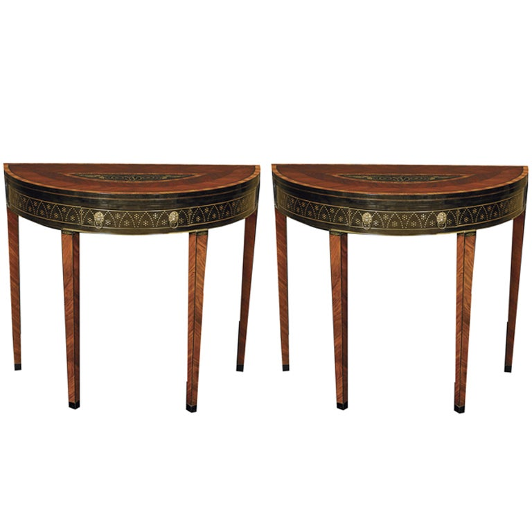 A Pair Of Demi lune Card Tables In The Manner Heinrich