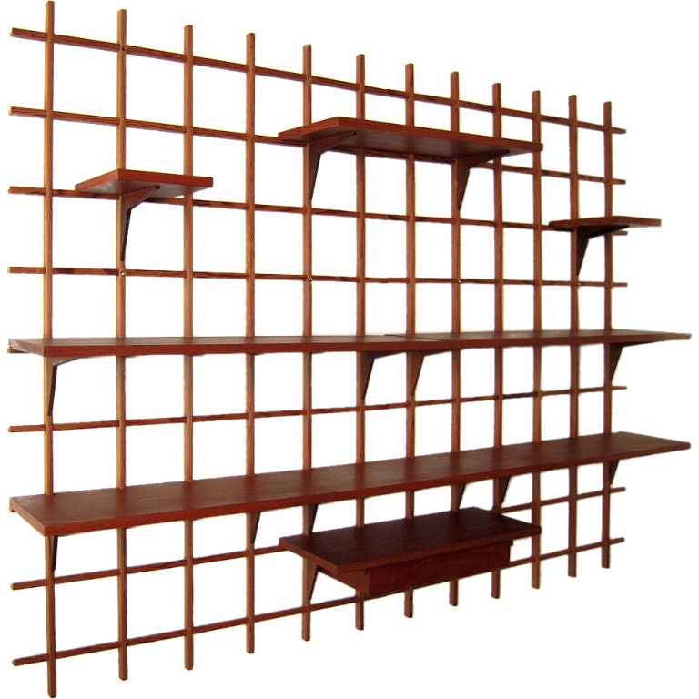 danish modern wall mounted display shelf at 1stdibs. Black Bedroom Furniture Sets. Home Design Ideas
