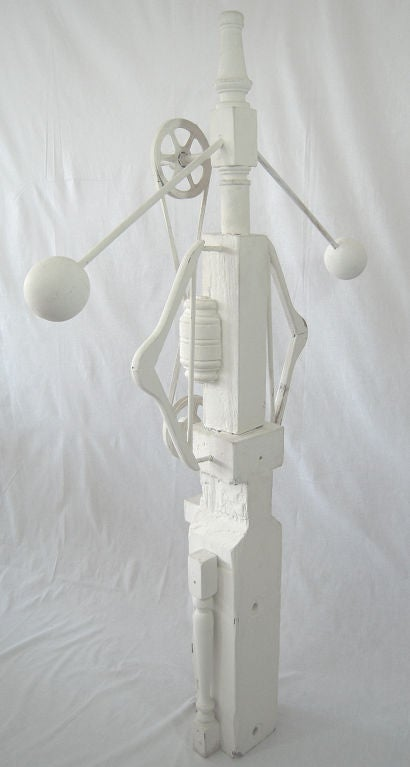 Large wooden Industrial found objects art sculpture after Louise Nevelson, 1970s. This piece entitled