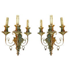 Large pair of antique French 19 th century bronze sconces