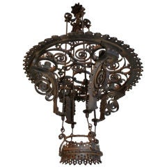 French antique wrought iron chandelier