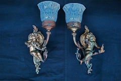 Antique pair of French cherub sconces image 2