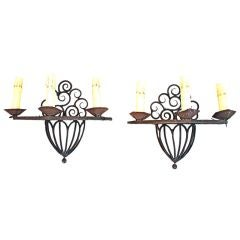 Antique Pair of French 1920  Wrought Iron Sconces