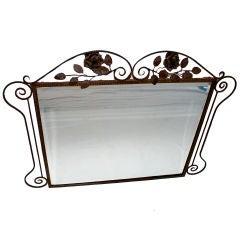Antique French 1920 Art Deco  Wrought Iron Mirror