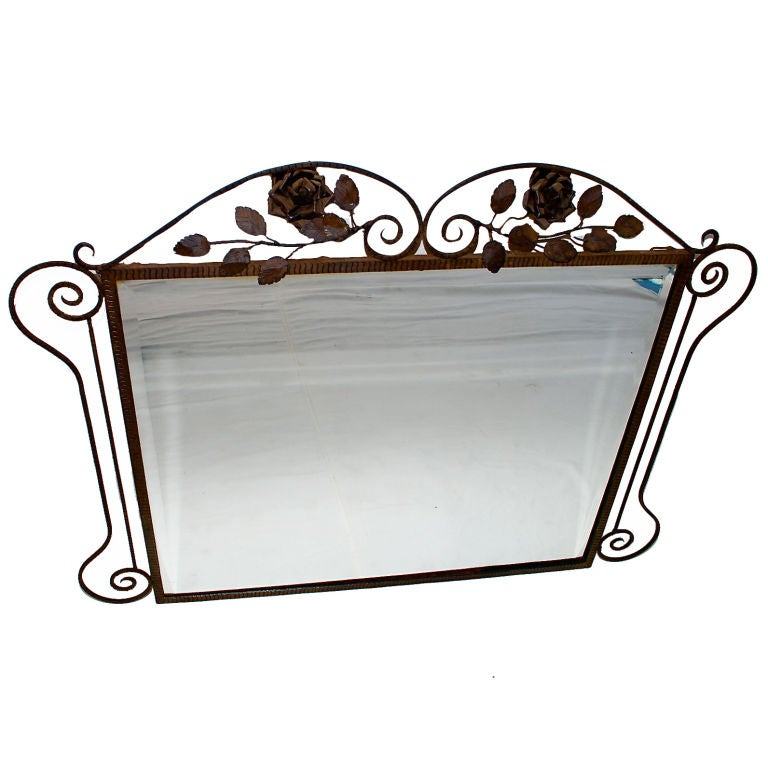 Antique french 1920 art deco wrought iron mirror at 1stdibs for Wrought iron mirror
