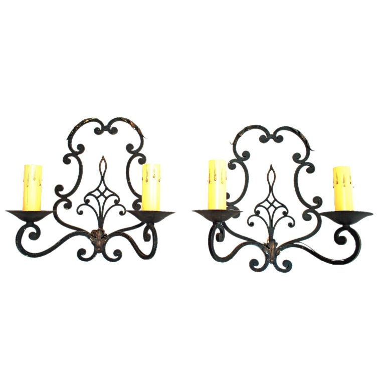 Antique Pair Of   French  1930 Wrought Iron Sconces