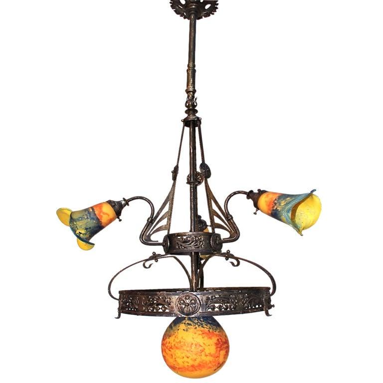 French Art Nouveaux Chandelier By Verre D Art De France At