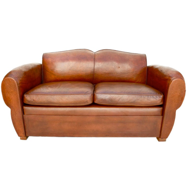 Antique French 1920 leather club sofa at 1stdibs