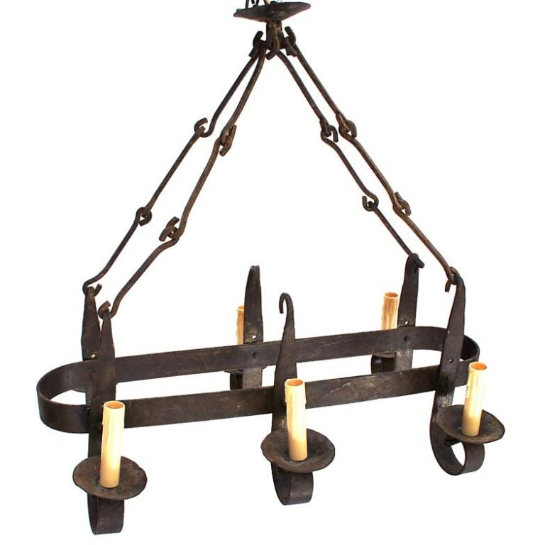 Antique French 1920 Wrought Iron Chandelier At 1stdibs