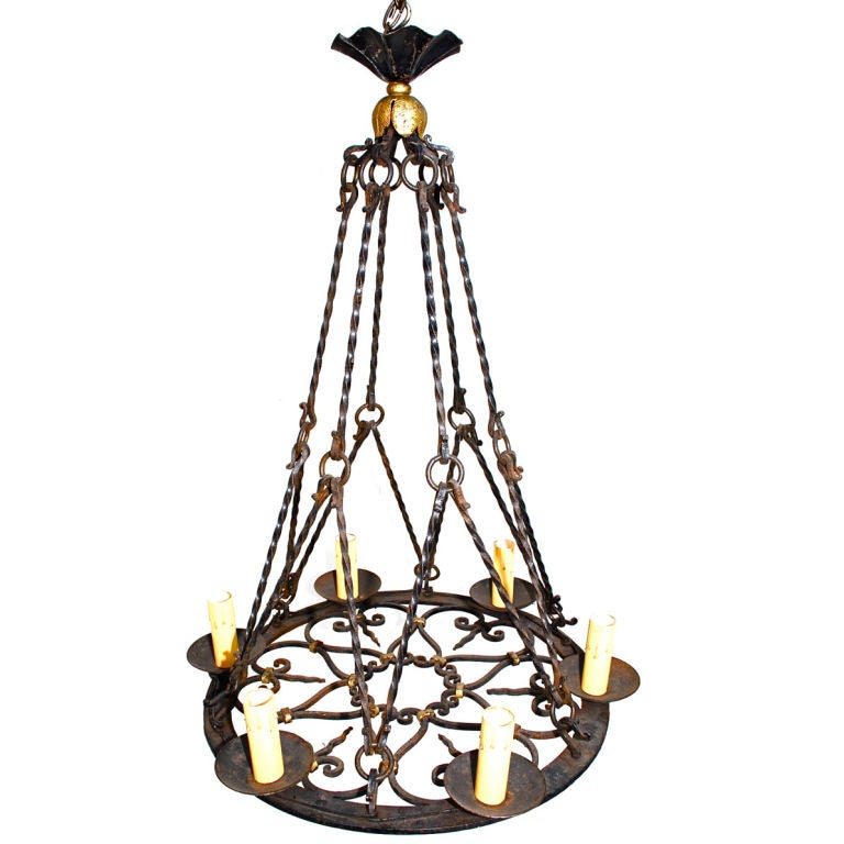 Antique French 1930 wrought iron chandelier