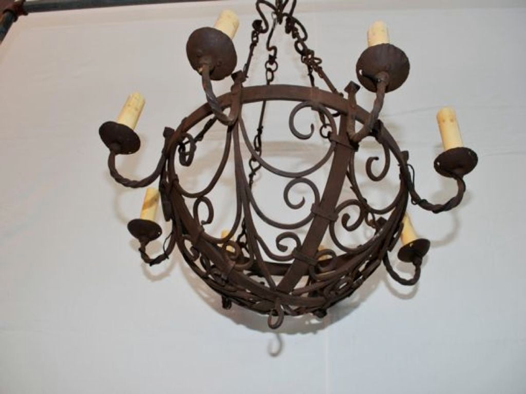 Antique wrought iron chandeliers antique furniture antique french 19 th century wrought iron chandelier 2 antique french 19 th century wrought aloadofball Image collections