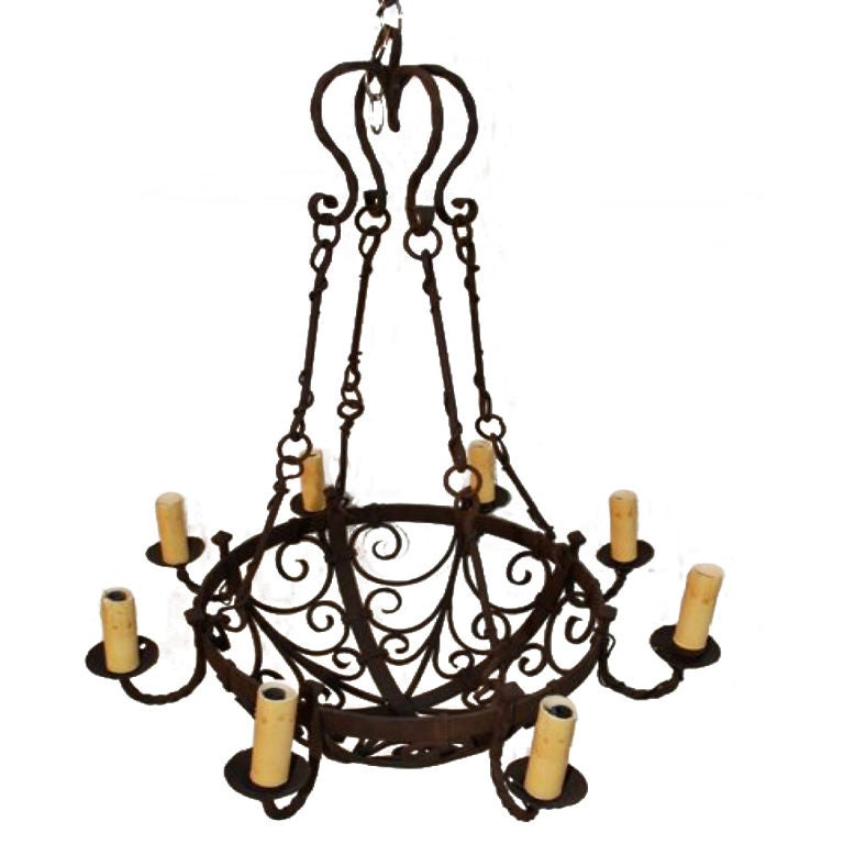 Antique French 19 Th Century Wrought Iron Chandelier At