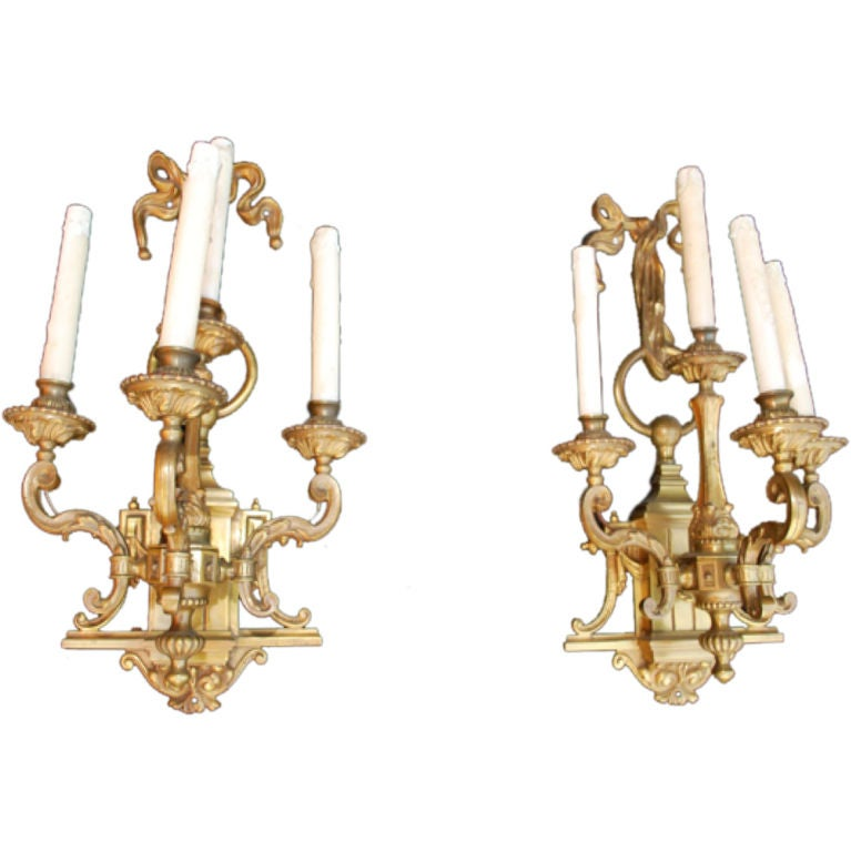 pair of large antique bronze sconces at 1stdibs