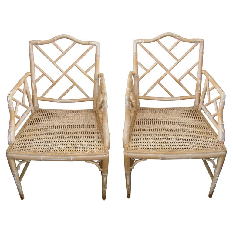 Pair Of Vintage Faux Bamboo Chippendale Chairs At 1stdibs