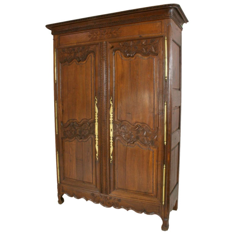 antique french country armoire cabinet wardrobe grapes at. Black Bedroom Furniture Sets. Home Design Ideas