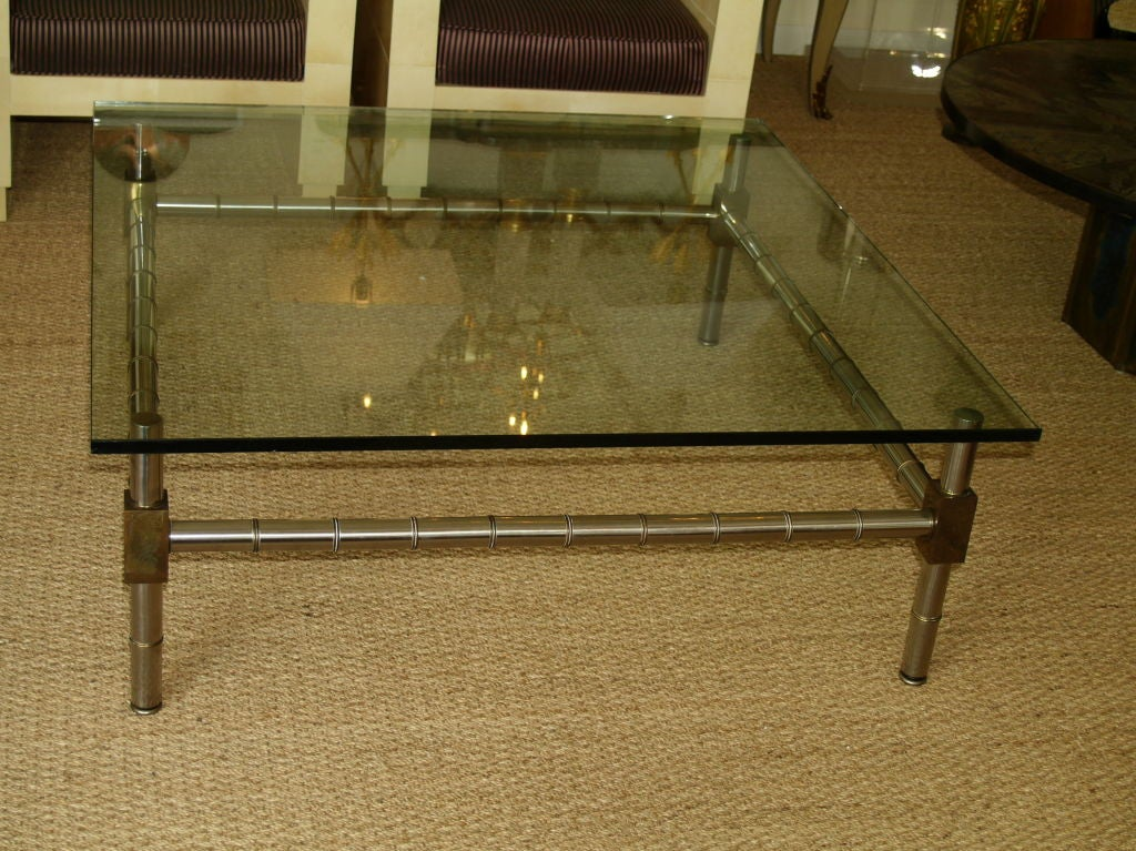 French Hollywood Regency Oversized Faux Bamboo Coffee Table For Sale