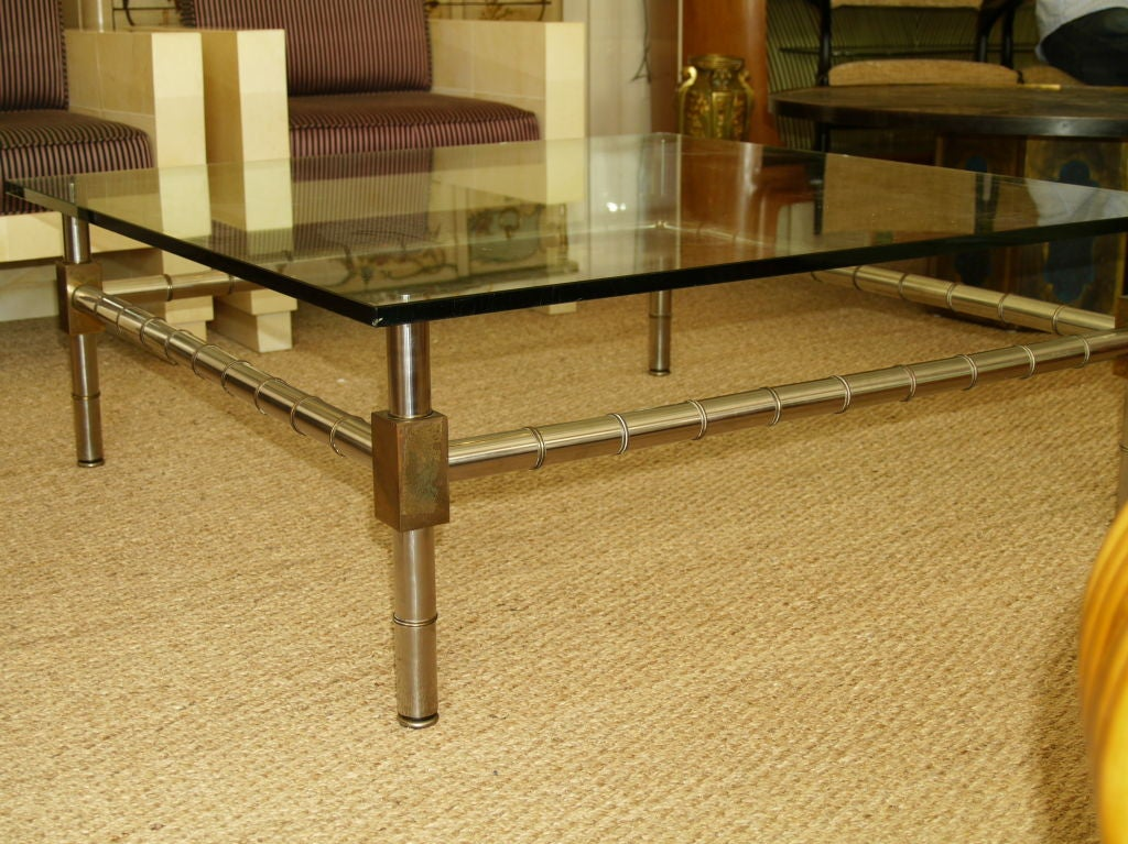 Hollywood Regency Oversized Faux Bamboo Coffee Table For Sale 1