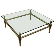 Hollywood Regency Oversized Faux Bamboo Coffee Table