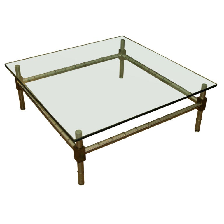 Hollywood Regency Oversized Faux Bamboo Coffee Table For Sale