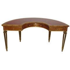 Rare Mastercraft  Demi-Lune Burled Wood Desk