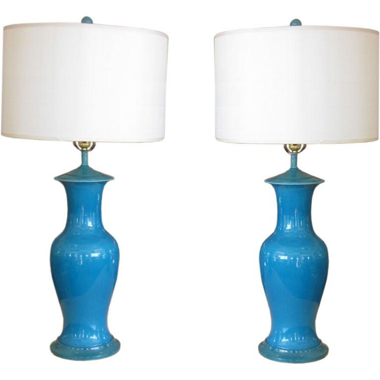 Fun Pair Of Aqua Blue Porcelain Lamps At 1stdibs