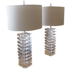 Pair of Stacked Lucite Table Lamps