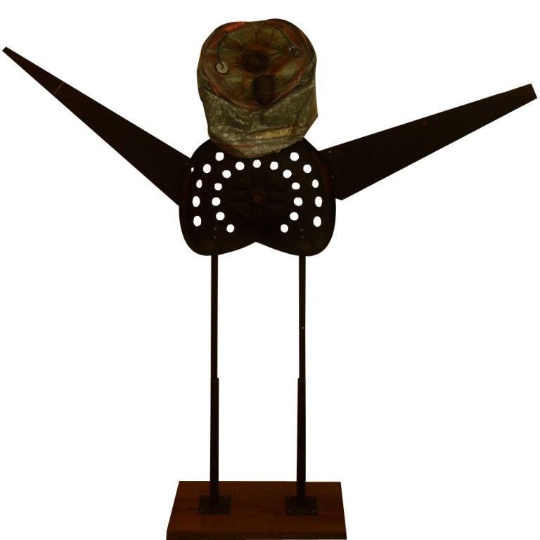 Folk Art Magnificent Oxidized Iron Man Sculpture