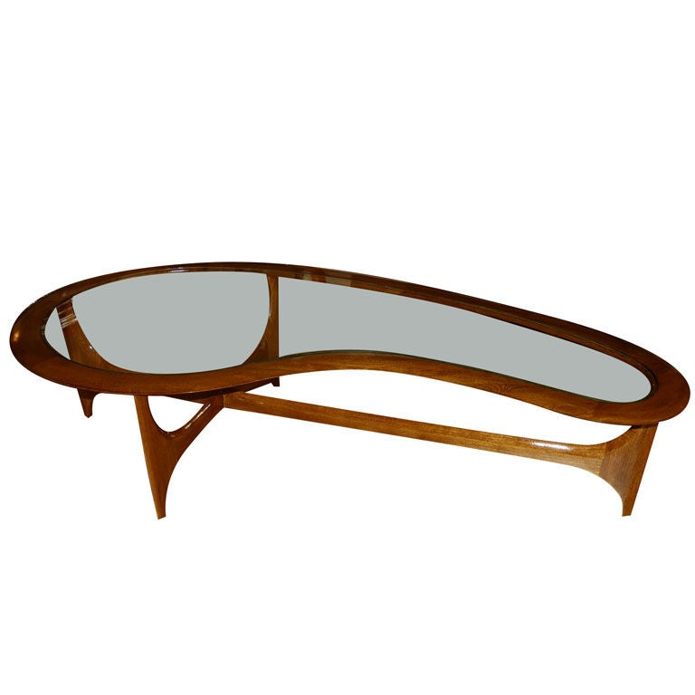 Lane Furniture Wood Coffee Table: Exquisite Lane Freeform Wood Coffee Table With Inset Glass