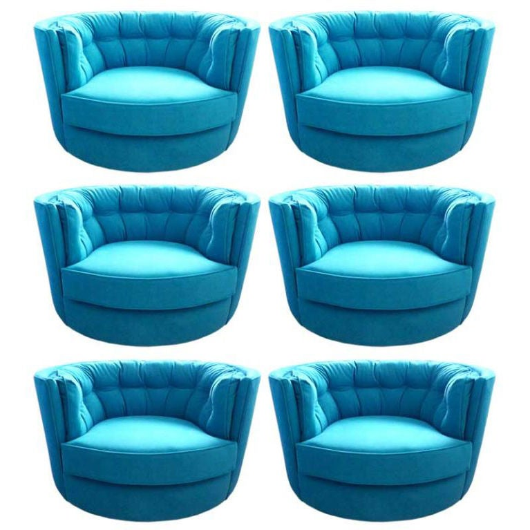 Swivel Tub Chairs in Turquoise Ultra Suede at 1stdibs