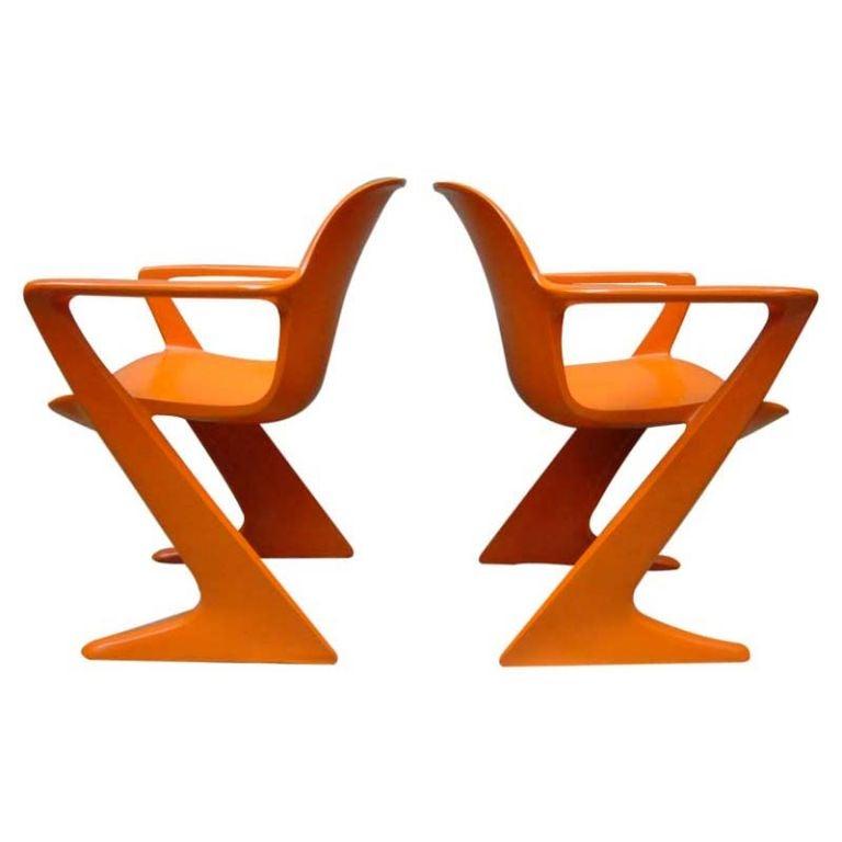 Pair Of Orange Kangaroo Arm Chairs By Ernst Moeckl At