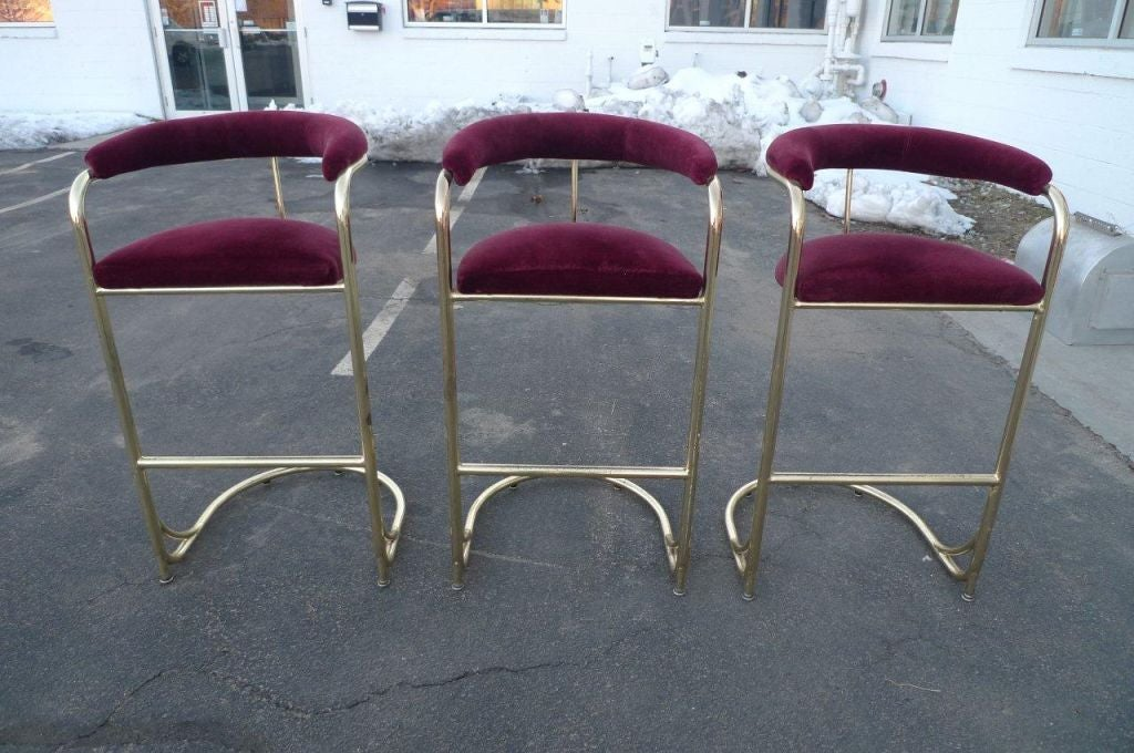Set Of 3 Vintage Brass Bar Stools By Shelby Williams Image 5