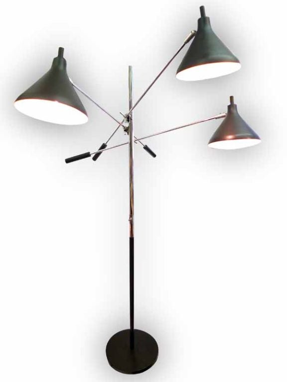 Mid-Century 3-Arm Articulating Triennale Style Floor Lamp at 1stdibs