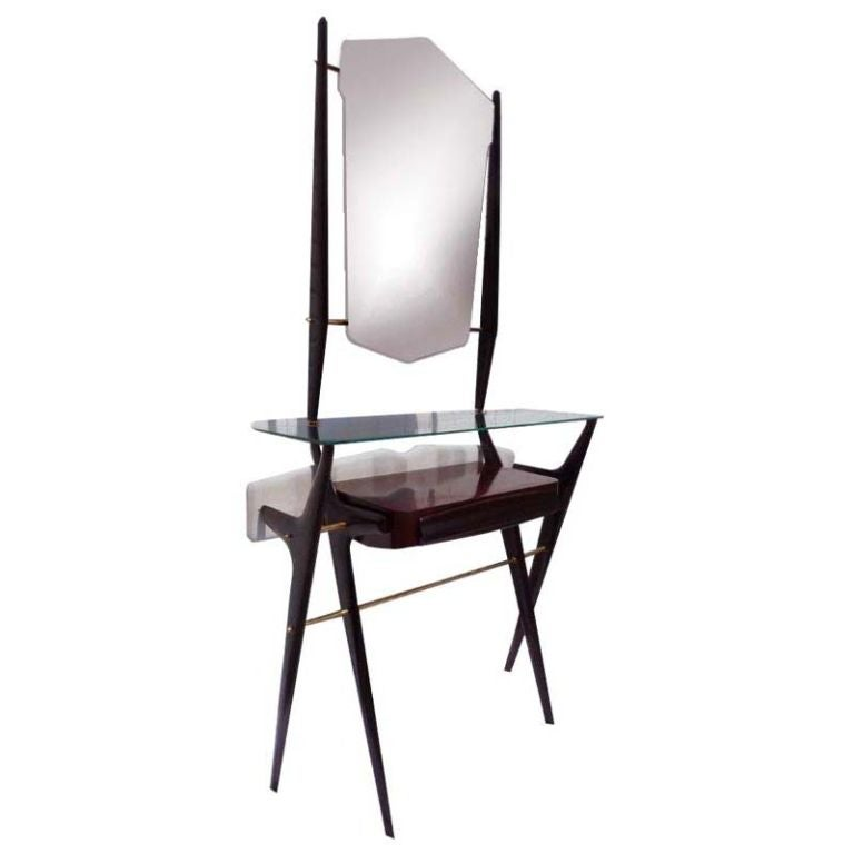 1950s Italian Hall Console with Mirror Attributed to Ico Parisi