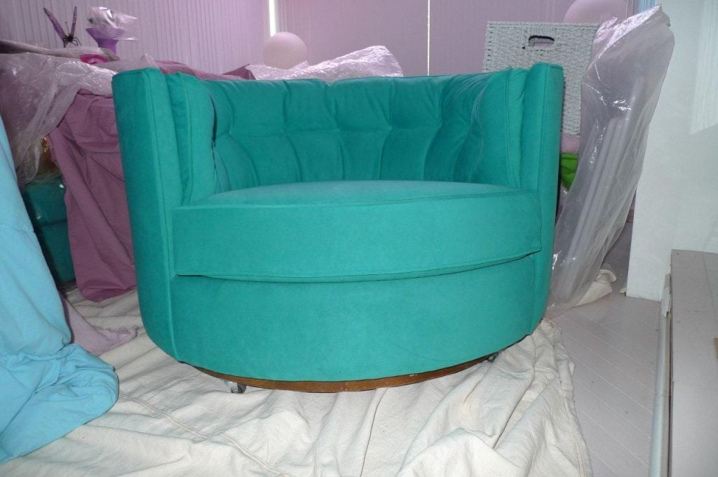 American Swivel Tub Chairs In Turquoise Ultra Suede For