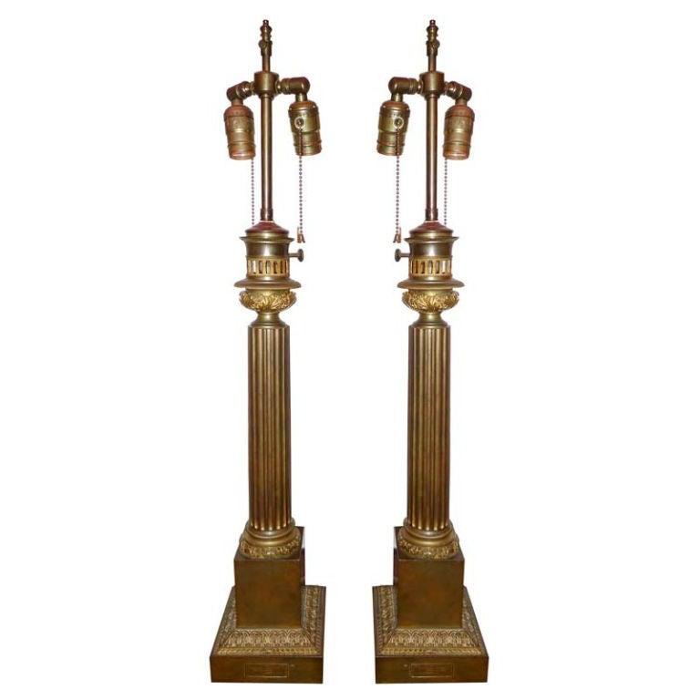 Pair of Louis-Philippe Bronze Column Lamps by Clachet