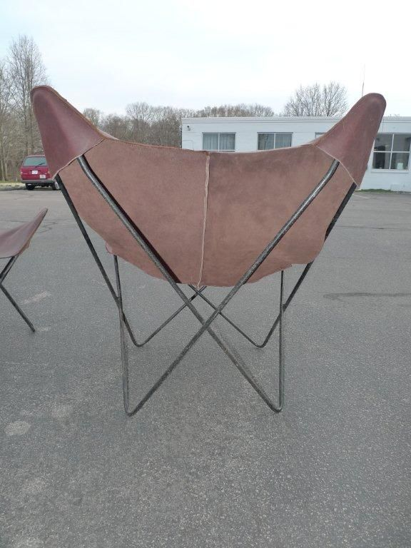 Pair Of Vintage Solid Iron Frame Butterfly Chairs With New Seats Made Of  Distressed Leather.