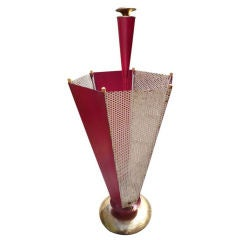 French 1950's Brass & Perforated Metal Umbrella Stand