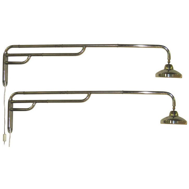 Extra Long Wall Sconces : Pair of Extra Long Craft Made Industrial Chrome Swing Sconces For Sale at 1stdibs