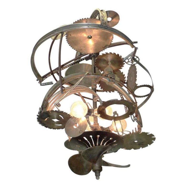 """Mad Max"" Industrial Sculpture Giant Orb Chandelier 1"