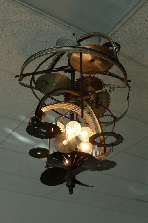"""Mad Max"" Industrial Sculpture Giant Orb Chandelier 2"