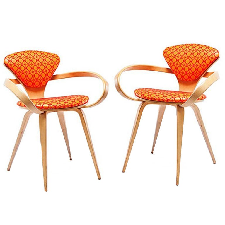 pair of vintage norman cherner pretzel arm chairs 1