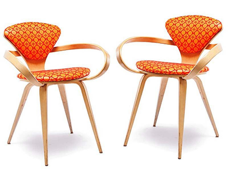 Pair Of Vintage Norman Cherner Pretzel Arm Chairs At 1stdibs