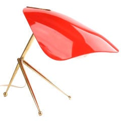 Tripod Lamp with Articulating Red Plexi Reflector