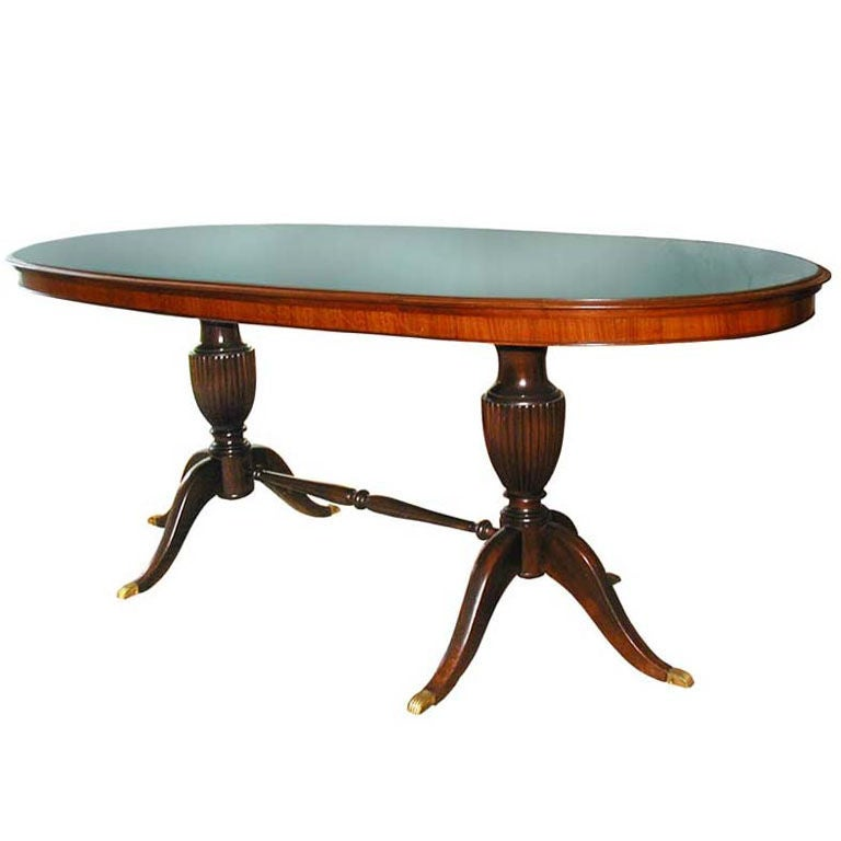 1950s Italian Oval Rosewood Dining Table with Green Glass Top 1