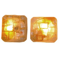 Mazzega Murano Textured Glass Ceiling or Wall-Mounted Lights