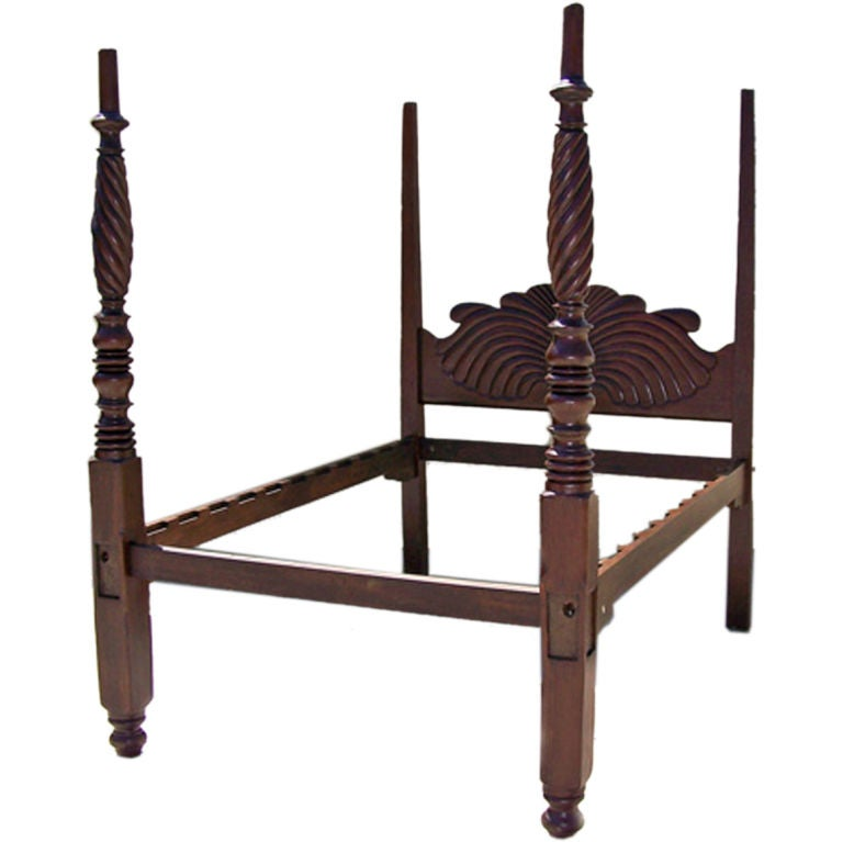 Early 19th C West Indies Mahogany Four Poster Bed 1