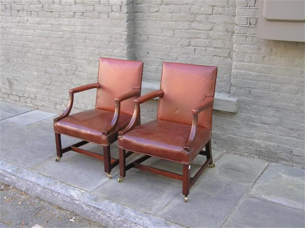 Pair of English Leather Arm Chairs In Excellent Condition For Sale In Charleston, SC