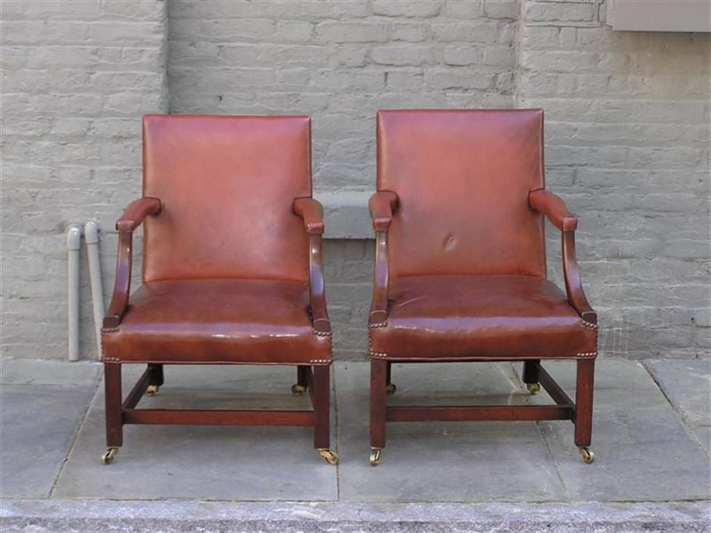 18th Century and Earlier Pair of English Leather Arm Chairs For Sale